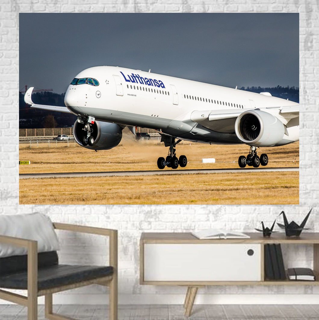 Lufthansa's A350 Printed Canvas Posters (1 Piece) Aviation Shop