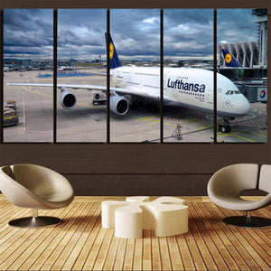 Lufthansa's A380 At the Gate Printed Canvas Prints (5 Pieces) Aviation Shop