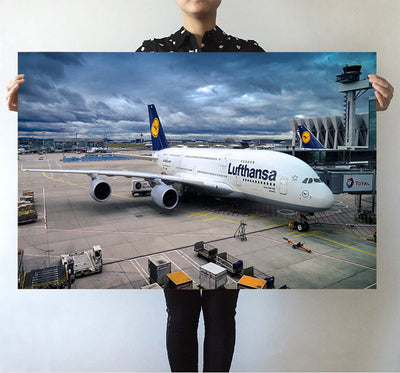 Lufthansa's A380 At the Gate Printed Posters