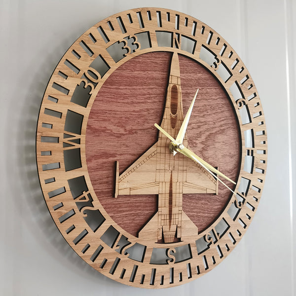 F-16 Fighting Falcon Designed Wooden Wall Clocks