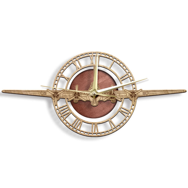 Boeing B-17 Flying Fortress Designed Wooden Wall Clocks