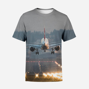 Magnificent Airplane Landing Printed T-Shirts