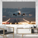 Magnificent Airplane Landing Printed Canvas Posters (1 Piece) Aviation Shop