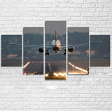 Magnificent Airplane Landing Printed Multiple Canvas Poster