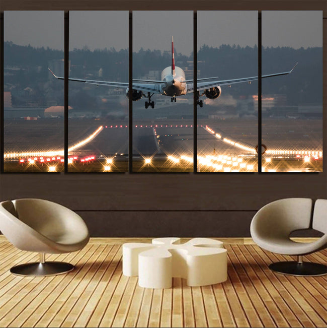 Magnificent Airplane Landing Printed Canvas Prints (5 Pieces) Aviation Shop