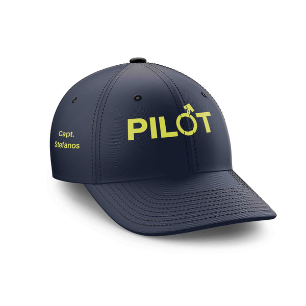Customizable Name & Male PILOT Sign Embroidered Hats