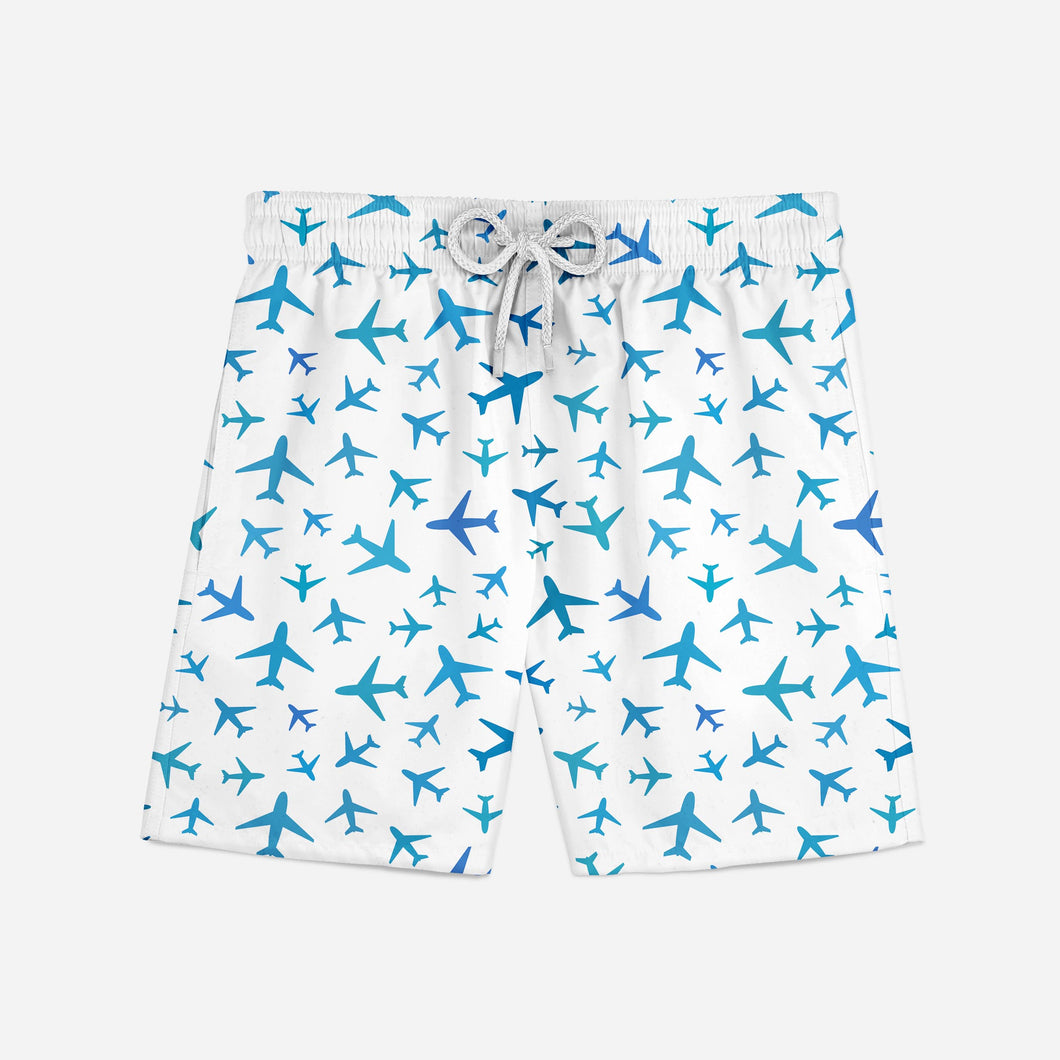 Many Airplanes (White) Designed Swim Trunks