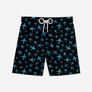 Many Airplanes (Black) Designed Swim Trunks