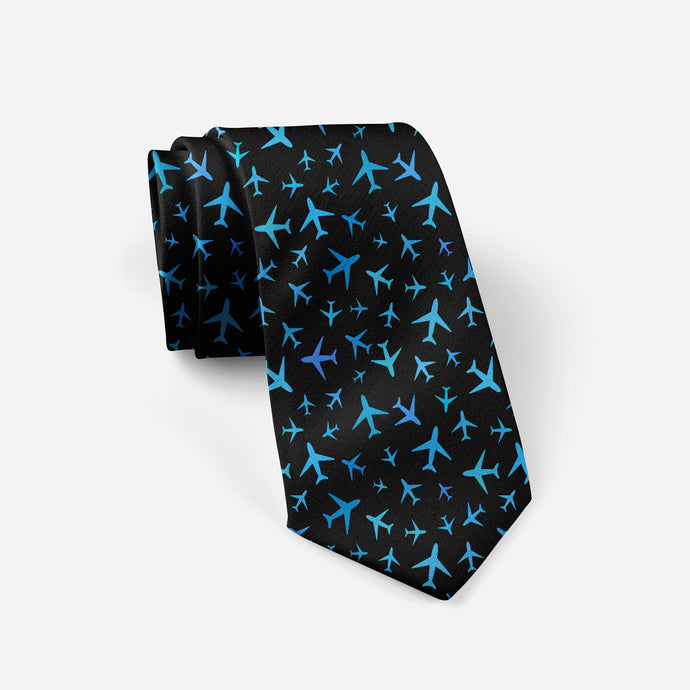 Many Airplanes (Black) Designed Ties
