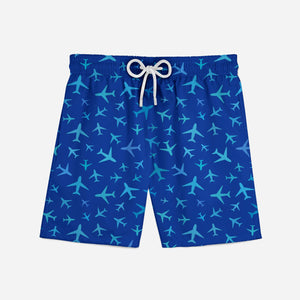 Many Airplanes (Blue) Designed Swim Trunks
