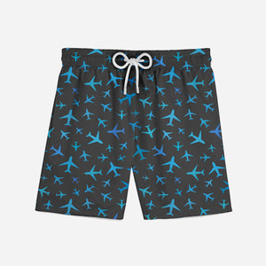 Many Airplanes (Gray) Designed Swim Trunks