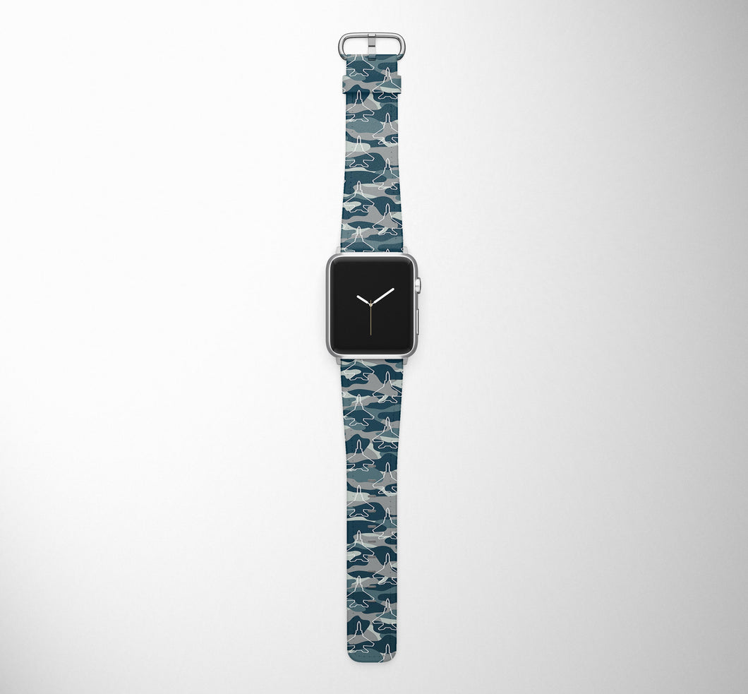 Military Comouflage & Jet Airplanes Designed Leather Apple Watch Straps