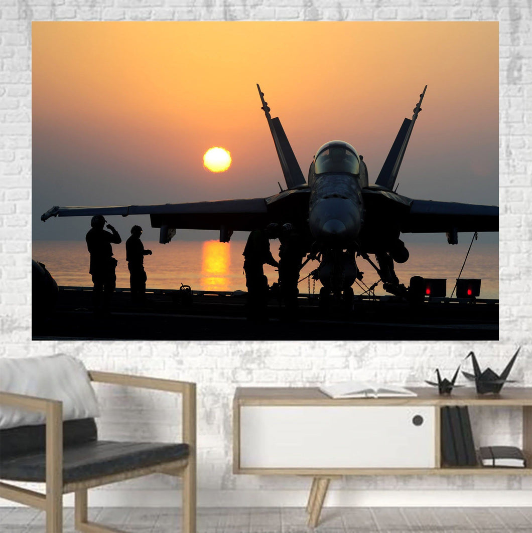 Military Jet During Sunset Printed Canvas Posters (1 Piece) Aviation Shop