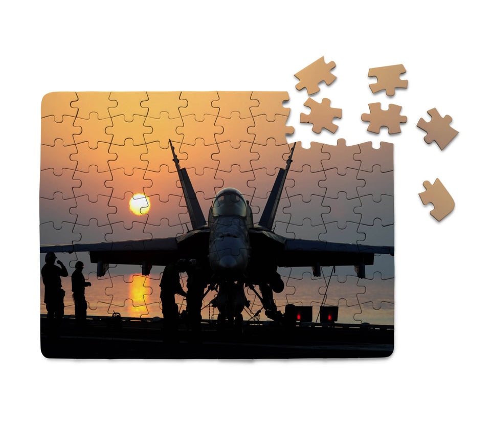 Military Jet During Sunset Printed Puzzles Aviation Shop