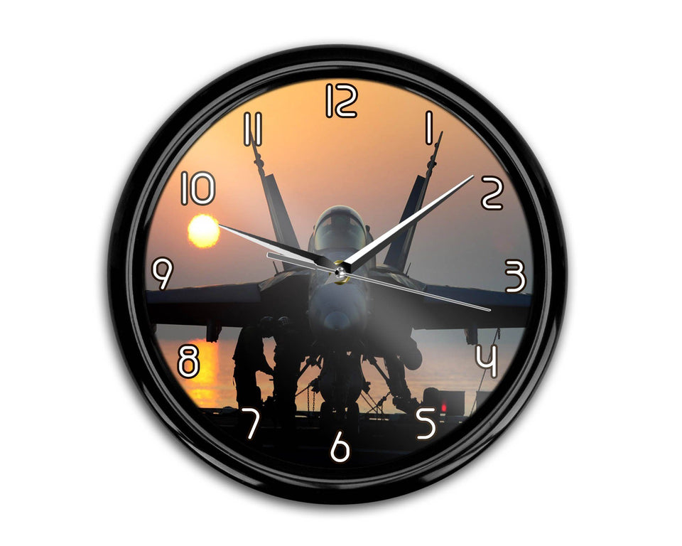 Military Jet During Sunset Printed Wall Clocks Aviation Shop