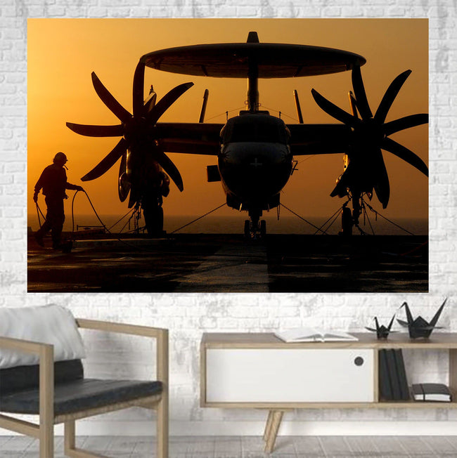 Military Plane at Sunset Printed Canvas Posters (1 Piece) Aviation Shop