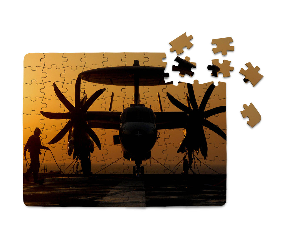 Military Plane at Sunset Printed Puzzles Aviation Shop
