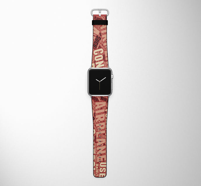 Mixed Aviation Texts Designed Leather Apple Watch Straps