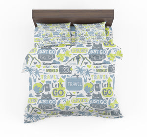 Motivational Travel Badges Designed Bedding Sets