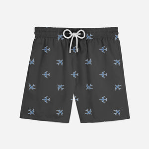 Nice Airplanes (Gray) Designed Swim Trunks