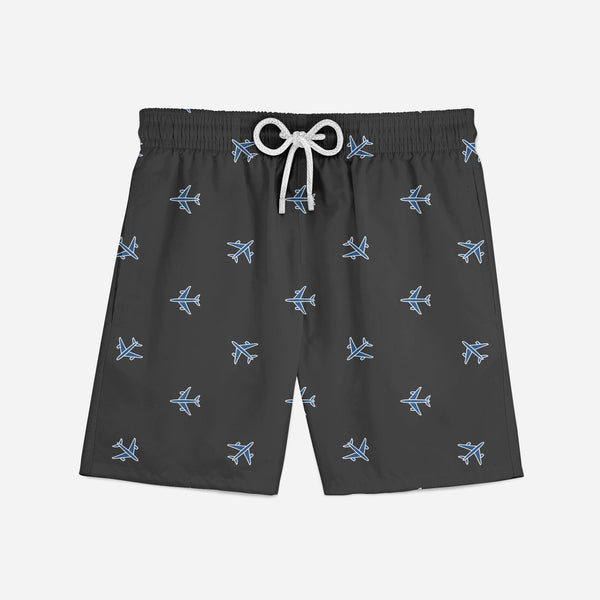Nice Airplanes (Gray) Designed Swim Trunks & Shorts