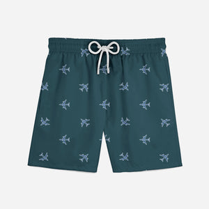 Nice Airplanes (Green) Designed Swim Trunks