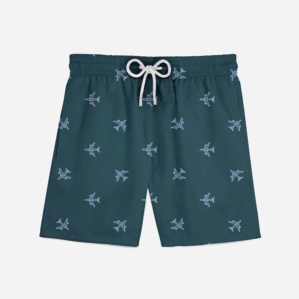 Nice Airplanes (Green) Designed Swim Trunks & Shorts
