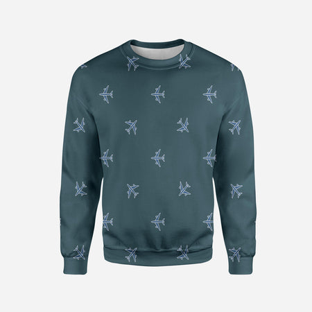 Nice Airplanes (Green) Printed 3D Sweatshirts