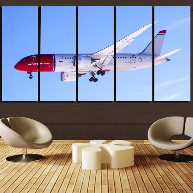 Norwegian Boeing 787 Printed Canvas Prints (5 Pieces) Aviation Shop