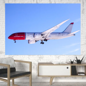 Norwegian Boeing 787 Printed Canvas Posters (1 Piece) Aviation Shop