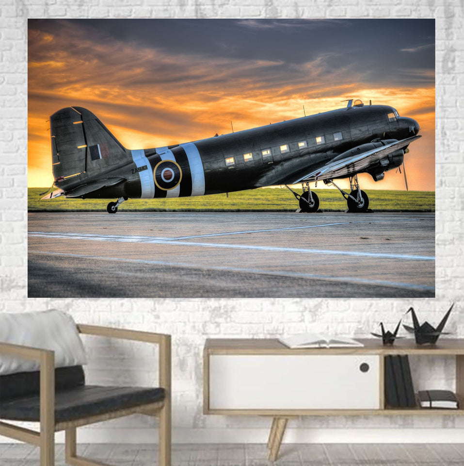 Old Airplane Parked During Sunset Printed Canvas Posters (1 Piece) Aviation Shop
