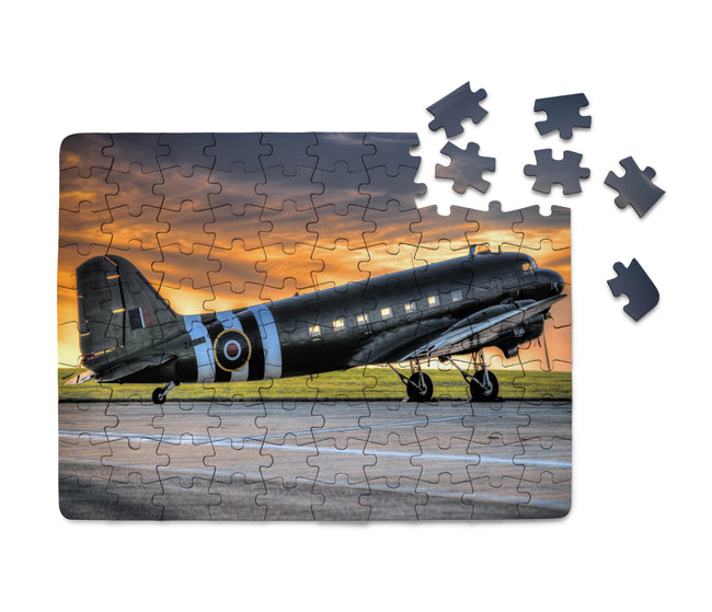 Old Airplane Parked During Sunset Printed Puzzles Aviation Shop