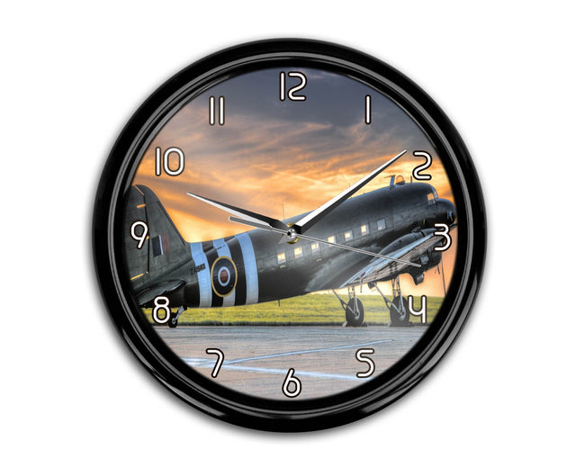 Old Airplane Parked During Sunset Printed Wall Clocks Aviation Shop