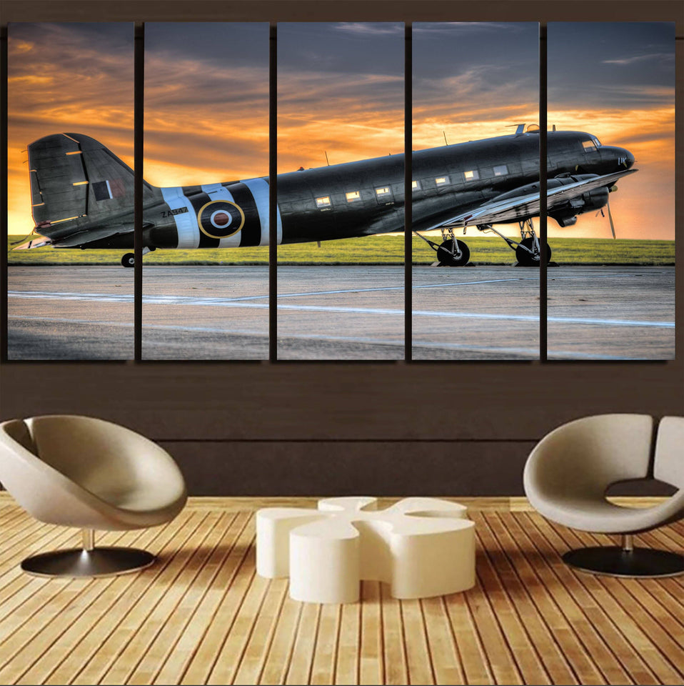 Old Airplane Parked During Sunset Printed Canvas Prints (5 Pieces) Aviation Shop