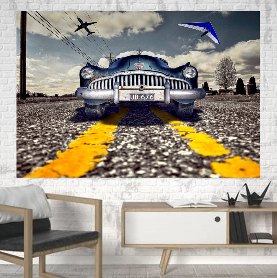 Old Car and Planes Printed Canvas Posters (1 Piece) Aviation Shop