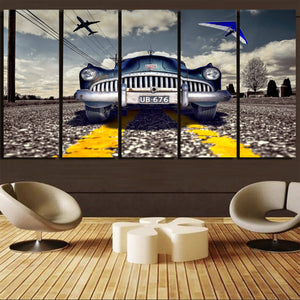 Old Car and Planes Printed Canvas Prints (5 Pieces) Aviation Shop