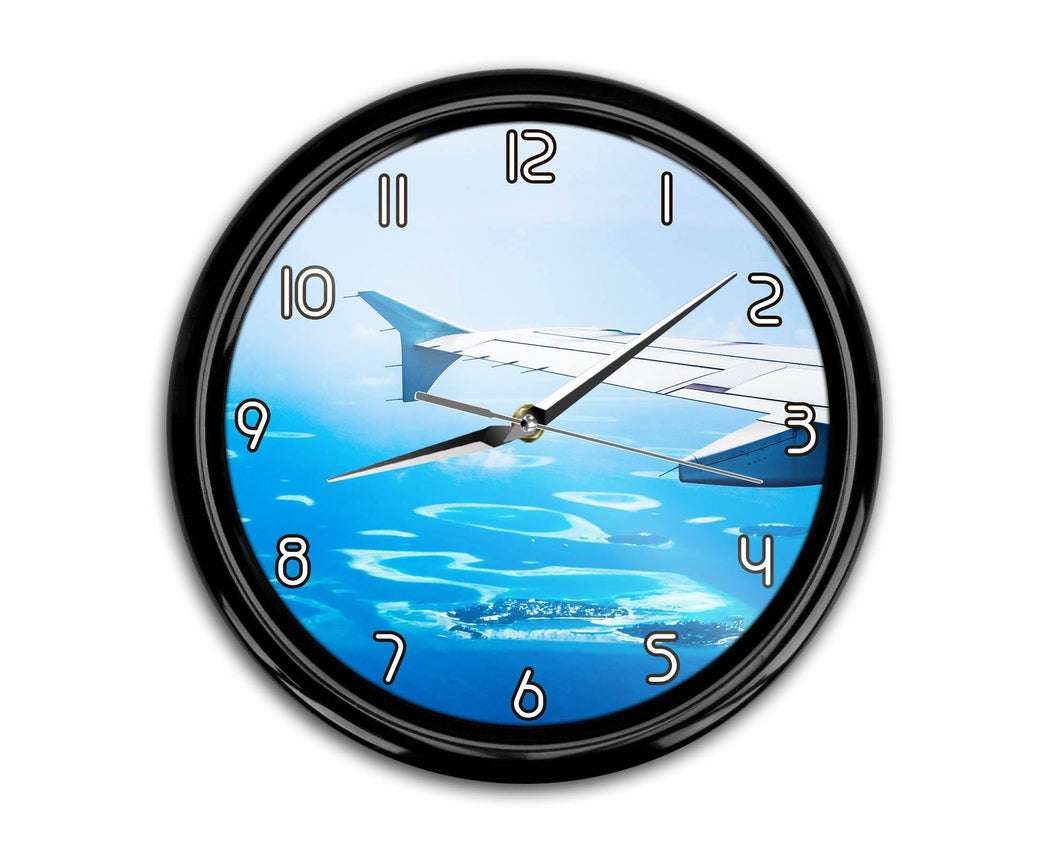 Outstanding View Through Airplane Wing Printed Wall Clocks Aviation Shop