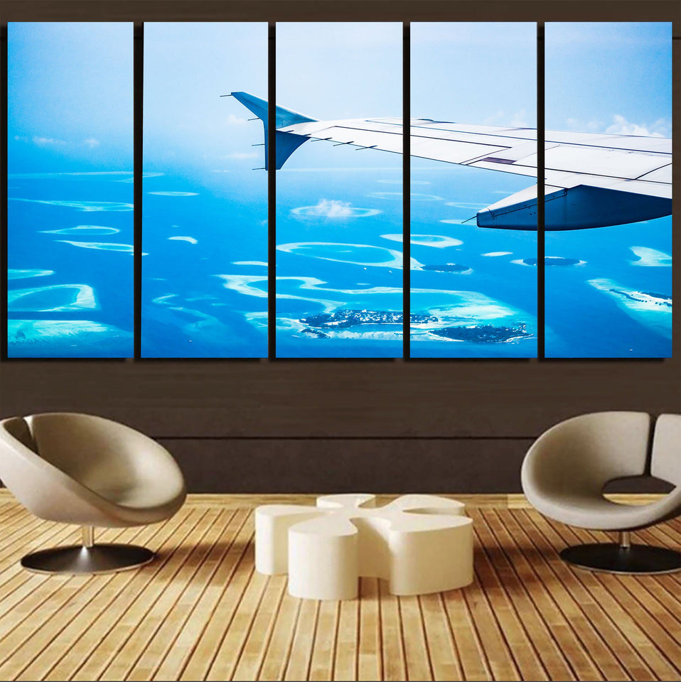 Outstanding View Through Airplane Wing Printed Canvas Prints (5 Pieces) Aviation Shop