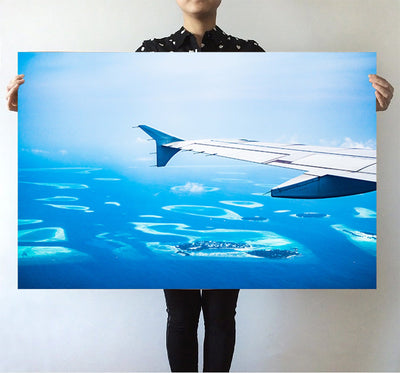 Outstanding View Through Airplane Wing Printed Posters