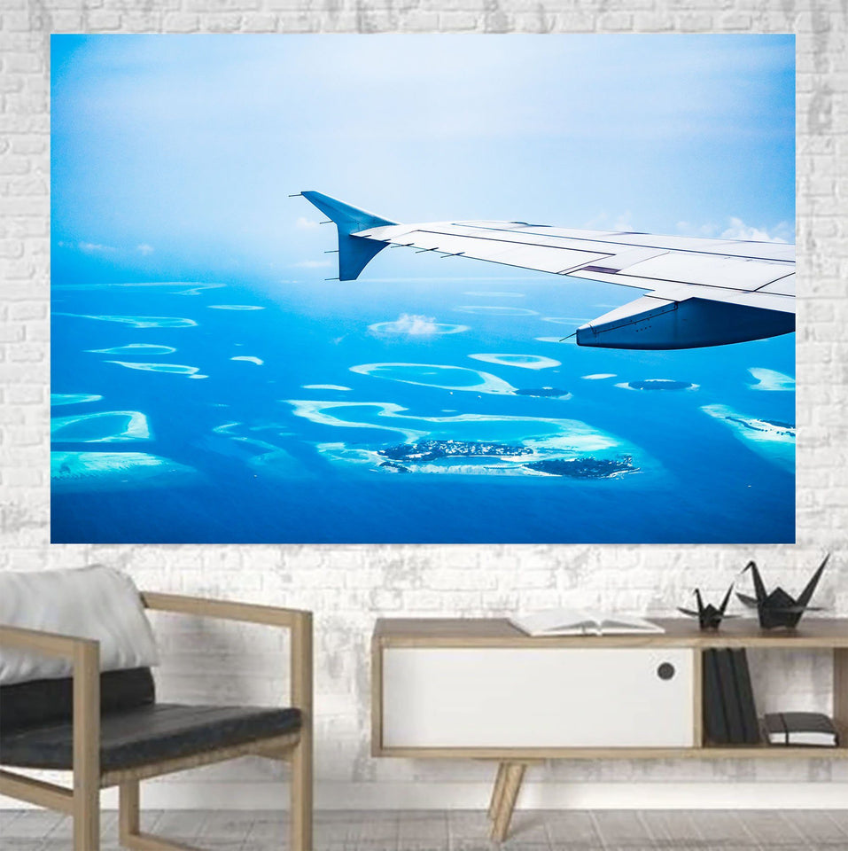 Outstanding View Through Airplane Wing Printed Canvas Posters (1 Piece) Aviation Shop