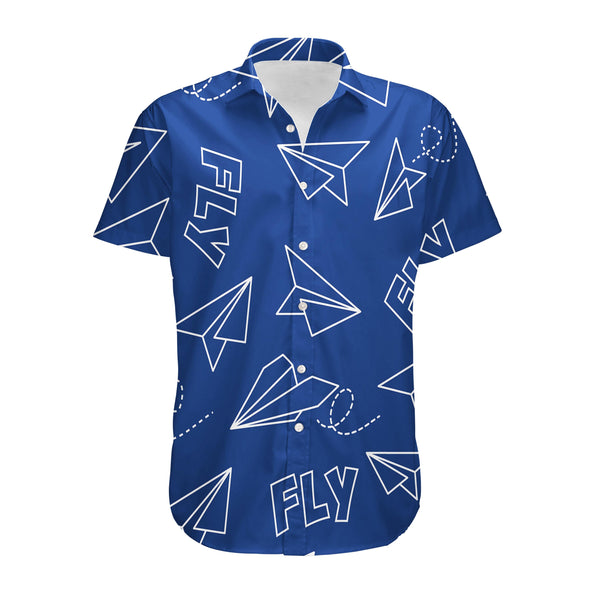 Paper Airplane & Fly (Blue) Designed 3D Shirts