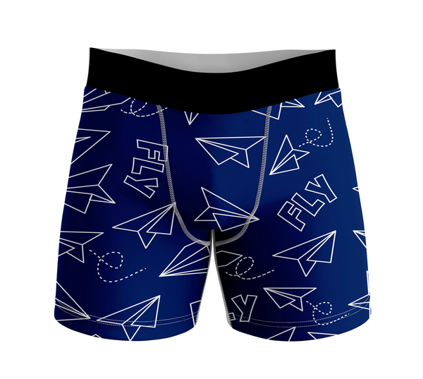 Paper Airplane & Fly Designed Men Boxers