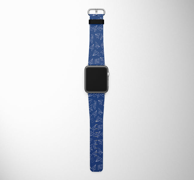 Paper Airplane & Fly (Blue) Designed Leather Apple Watch Straps