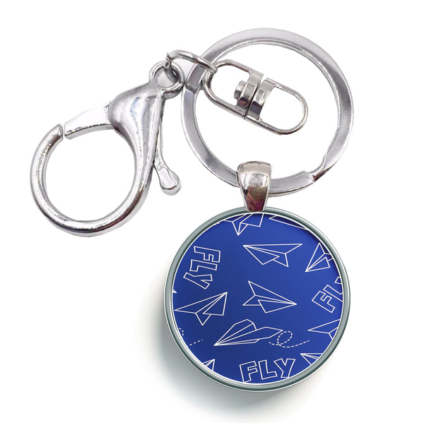 Paper Airplane & Fly Designed Circle Key Chains