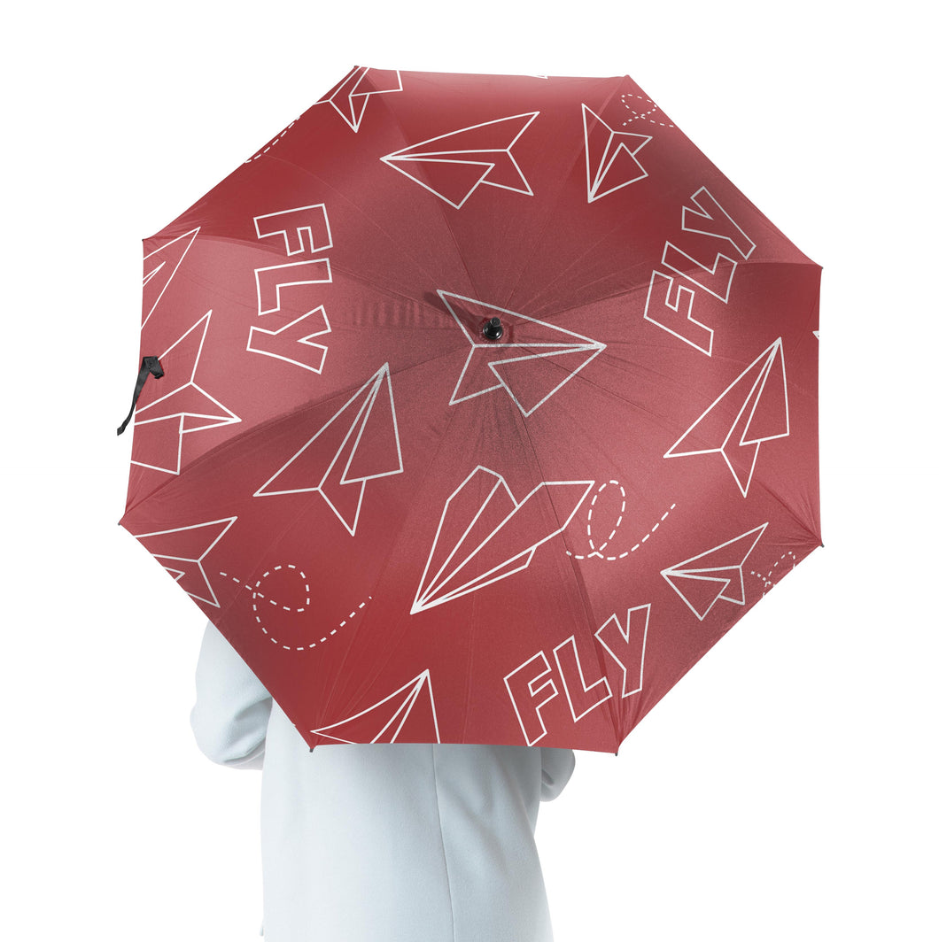 Paper Airplane & Fly (Red) Designed Umbrella