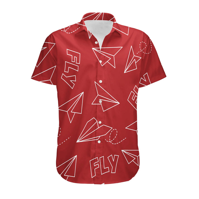 Paper Airplane & Fly (Red) Designed 3D Shirts