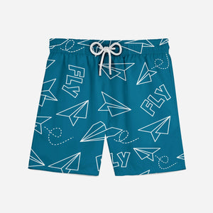 Paper Airplane & Fly Designed Swim Trunks
