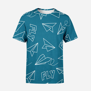 Paper Airplane & Fly Printed 3D T-Shirts