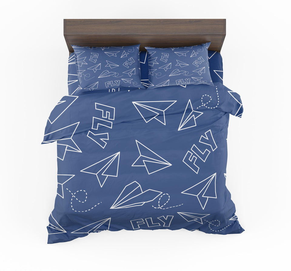 Paper Airplane & Fly (Blue) Designed Bedding Sets