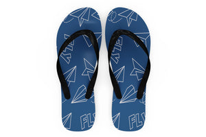 Paper Airplane & Fly (Blue) Designed Slippers (Flip Flops)